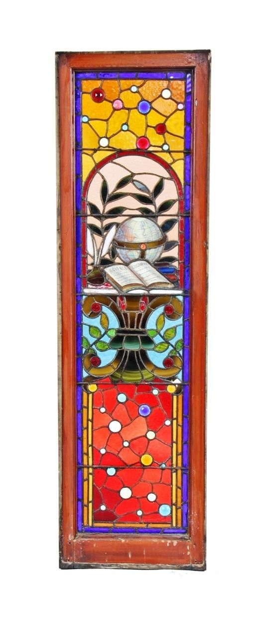 PHENOMENAL ONE OF A KIND C. 1880'S AMERICAN VICTORIAN ERA INTERIOR DAVID C. COOK MANSION JEWELED STAINED GLASS WINDOW CONTAINING A BAKED ENAMELED GLOBE, TEXTBOOK AND FEATHER PEN