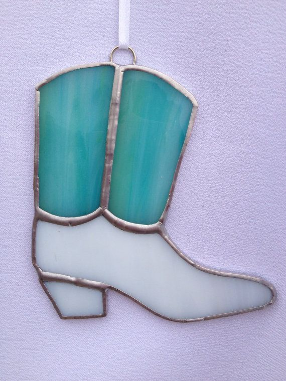 Stained Glass Ornament  Girls Cowboy Boot by MamaAgees on Etsy, $6.00