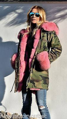 NEW 2015 MILITARY CAMO PARKA COAT ROSE SAGA FOX FUR CLASS- SABLE CHINCHILLA MINK