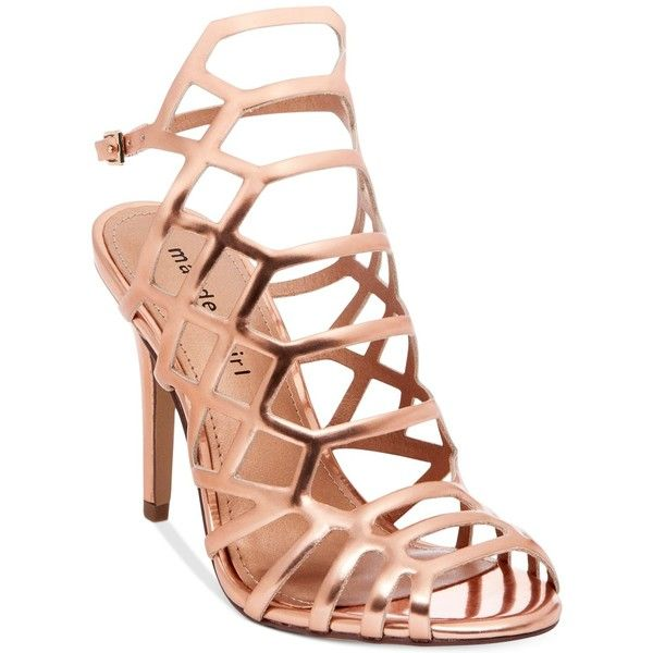 Madden Girl Directt Caged Sandals ($53) ❤ liked on Polyvore featuring shoes, sandals, heels, high heels, salto, rose gold, strap sandals, caged heel sandals, high heeled footwear and strap high heel sandals