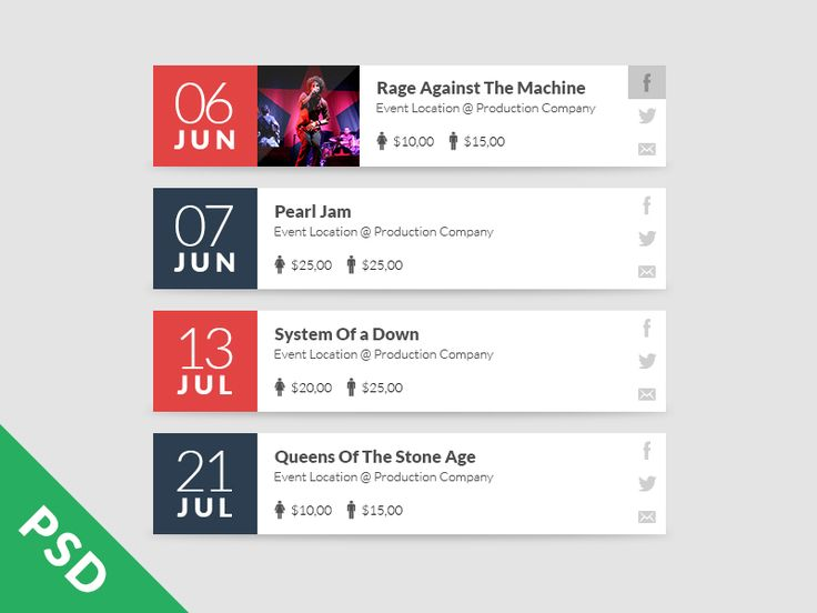 Event Calendar Design Inspiration : Psd event list by rafael zago ui ux resources and
