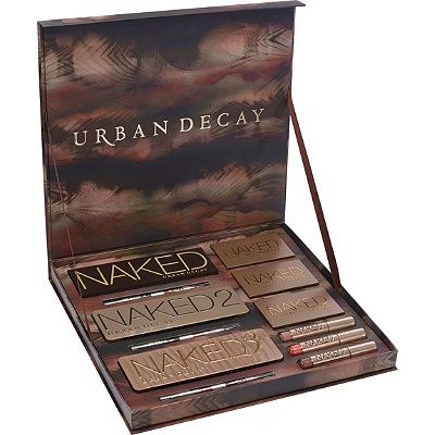 Urban Decay Cosmetics Naked Vault: Box set of all 3 naked eye palettes and all 3 coordinating double-ended eye pencils, 3 Naked Flushed palettes, and 3 Naked Ultra Nourishing Lip Glosses