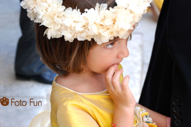Wedding celebration in Spanish church, flower girl
