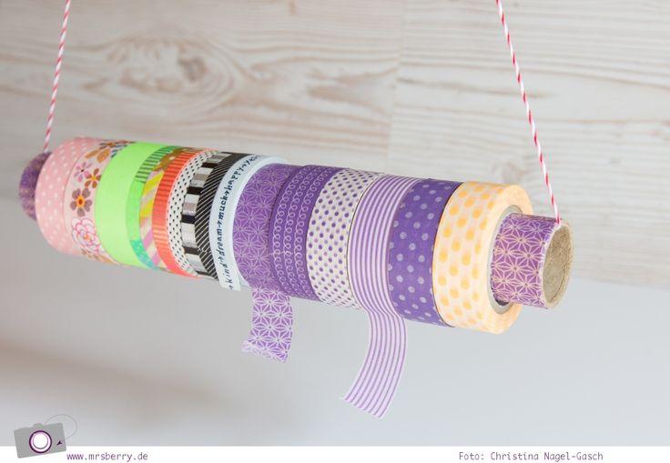 Aus einer Papprolle lässt sich schnell und einfach eine Aufbewahrung für dein Washi Tape basteln.