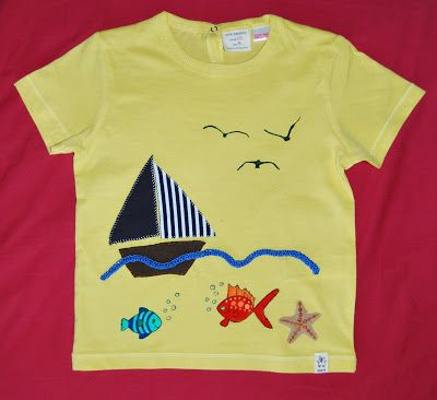 Boys t-shirt with fabric, crochet and paint applique. Materials: cotton fabric, cotton thread and fabric paint