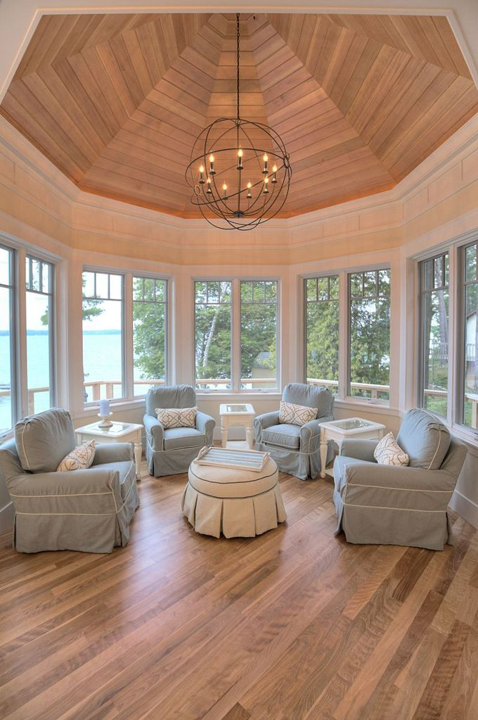 MAC Custom Homes Idea for master bedroom sitting room with 2 massage chairs, bench set bay windows, wrap around terrace