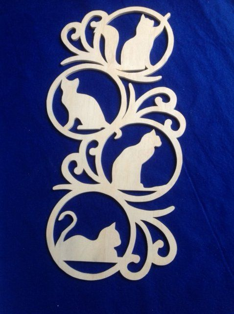 Cat Wall Hanging, almost 600mm ( 24 inches ) hand cut from Plywood, other versions include Butterfly's, Dogs, Frogs and Owls.