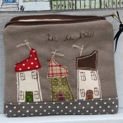 Coin purse with pretty houses on 'All In A Row'