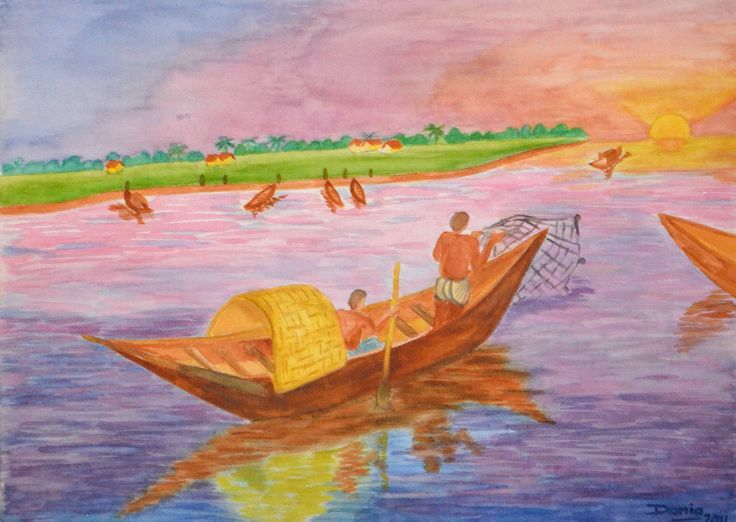 A painting I did of a typical fishing scene in Bangladesh.