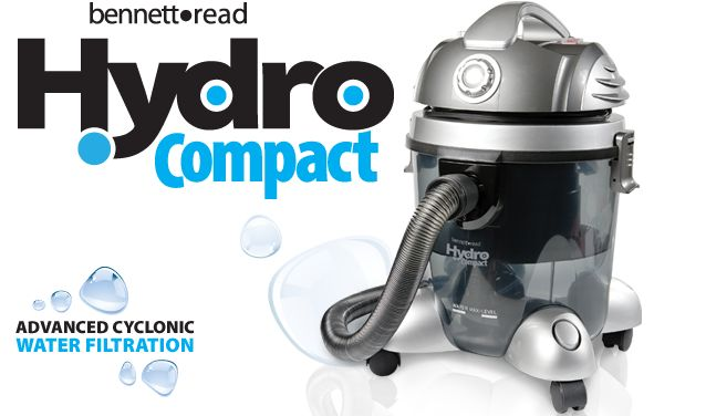 The premium cyclonic water-filtration vacuuming system... The all new Hydro Compact