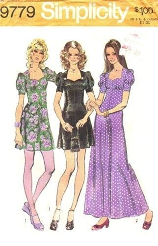 Simplicity 9779 Feminine Empire Waisted Dress 1971
