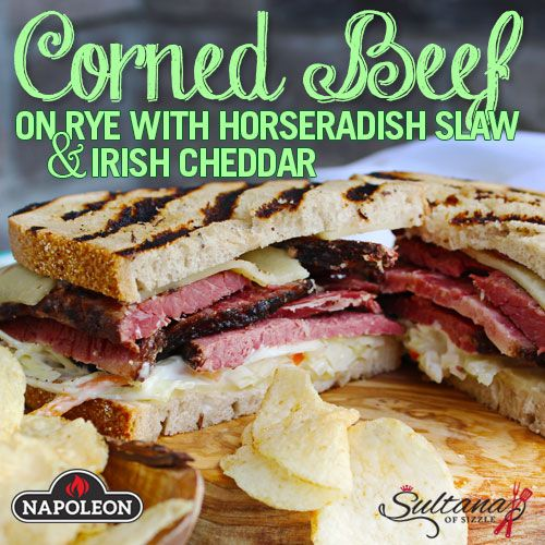 Homemade corned beef, piled high on rye bread with homemade horseradish slaw and Irish cheddar.