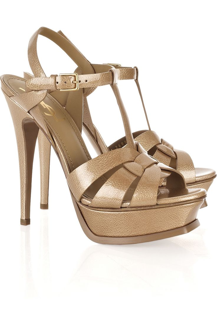 Ysl sandals shoes - Ysl Tribute Patent Leather Sandals Beige
