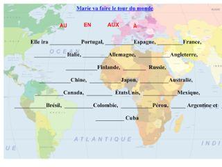 Les prépositions de lieu devant les pays et les villes