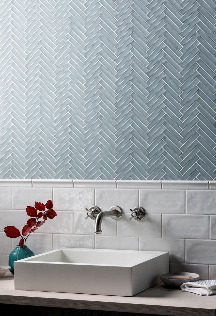 Glacier Grey Glass Herringbone Mosaic – #Glacier #…