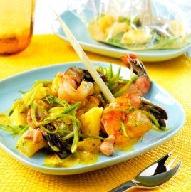 Recette Thaïlandaise : Papillotes de Gambas au curry. Plat excellent.