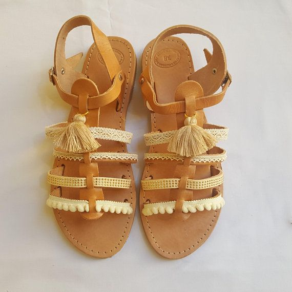 Boho Gladiator Sandals, Greek Sandals, Leather Sandals, Bridal Sandals, Wedding Sandals