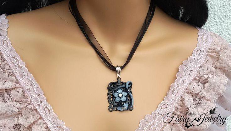 Collana cammeo fiore bianco nero organza regolabile, by Evangela Fairy Jewelry, 15,00 € su misshobby.com