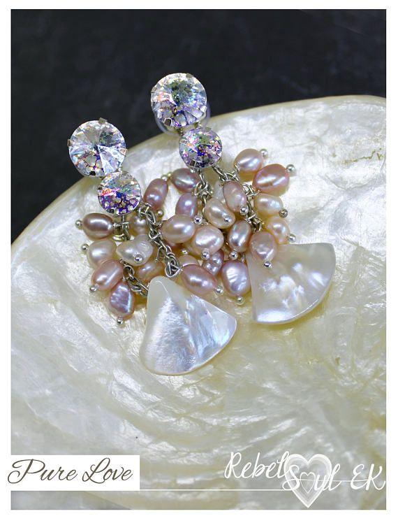 Natural white pearls wedding earrings Swarovski earrings for