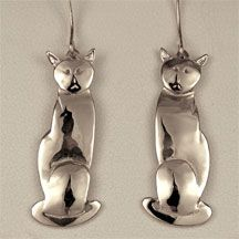 Curious Cats that dangle from your ears. They also come as a pendant.