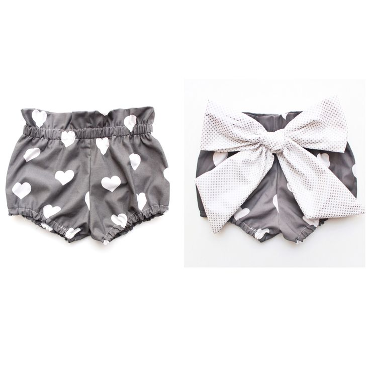 These are the most adorable high waist bloomers! They are made from a beautiful cotton printed with charcoal grey and a white heart pattern. They are a high waist fit and they fit just under babies belly button. The bow is on the behind and is made from a beautiful silver metallic polka dot cotton. You can choose to have it made with or without the bow, just select from the drop down menu. Price varies.I have general sizing listed here:0-3 months 3-6 months6-12 months12-...