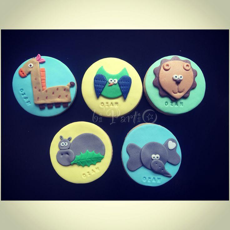 Animal cookie. Birthday cookies. Safari cookies.