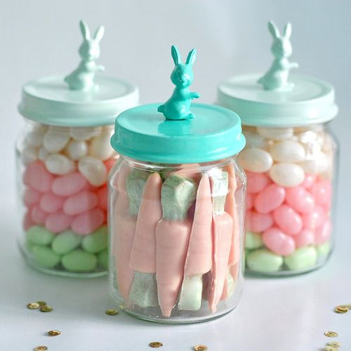 cute for easter - use baby food jars, and place at each setting on kids' table.