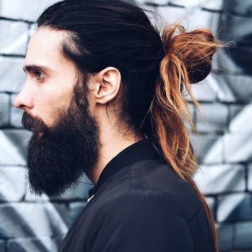men's messy knot for long hair
