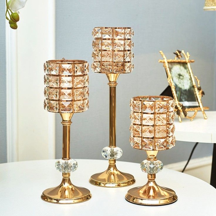 3pcs Fashion crystal candle holder stand wedding table centerpieces feather decor home DIY crafts candlebra holder candle rack