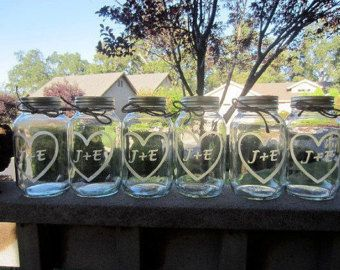 9 Quart Mason Jars Set of 9 Custom Jars  Etched Mason Jars