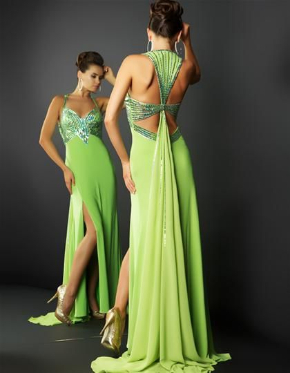 Lime Green Dress, im in love with the back of this!!