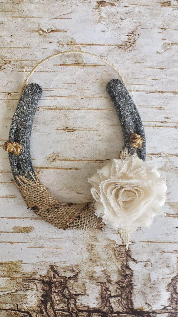 Shabby Chic Horseshoe, Burlap and Flower, Wedding Gift, Housewarming Gift, Glitter Horseshoe, Western Wall Hanging, Good Luck Horseshoe