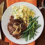 White Wine-Marinated Steak Recipe | MyRecipes.[add a little more broth and simmer for 5 minutes to reduce]