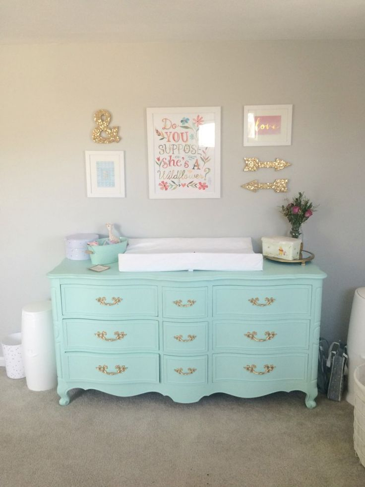 mint dresser as changing table, wall collage