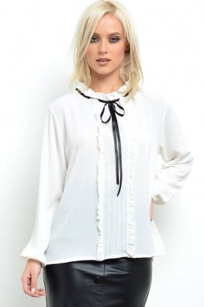 Helen Pleated Bow Blouse in White