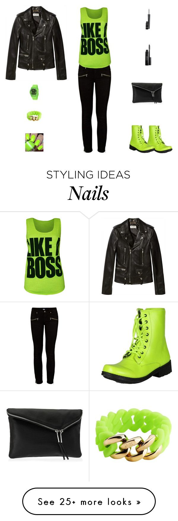 """""""Contest: Black & Neon Green Outfit"""" by billsacred on Polyvore featuring Qupid, Paige Denim, WearAll, Yves Saint Laurent, Henri Bendel, KR3W, The Rubz, MAC Cosmetics and Laura Geller"""