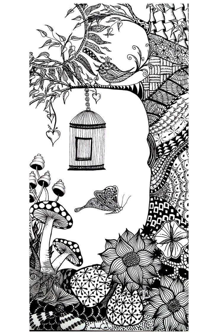 Free Coloring Page Coloring Adult Animals Bird Butterfly