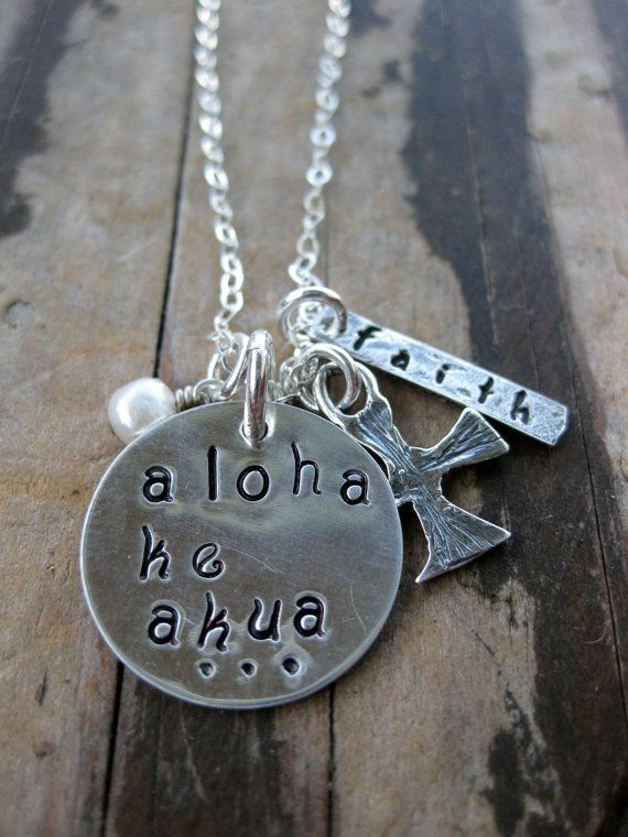 aloha ke akua....God is love necklace by sistercreation on Etsy, $57.00