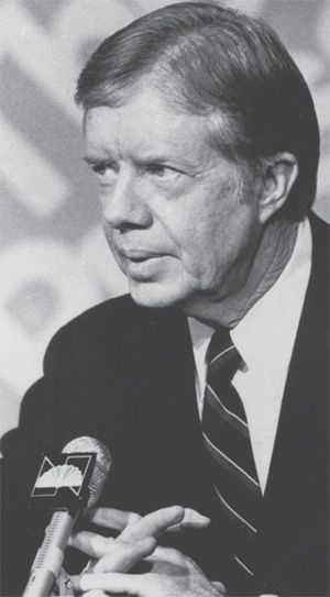 President Carter tells Team USA, that the country would boycott the 1980 Summer Olympics in Moscow, and that he would encourage other countries to do the same.  The 61-country boycott was in protest of the Soviets invasion of Afghanistan.