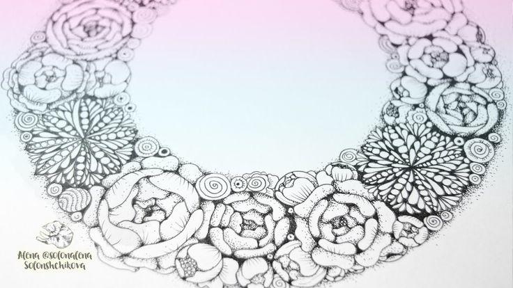 Flowers Wreath with Zentangle & Dotwork Elements  Here is a a time lapse video on how to draw flowers wreath with Zentangle & Dotwork graphic elements.  Видео, где я рисую цветочный венок с элементами дотворка и зентангл узорами.  VK  http://vk.com/zenart_by_alena Instagram  http://instagram.com/solonalena Twitter  https://twitter.com/ solonalena FB Page  https://www.facebook.com/alena.solonshchikova