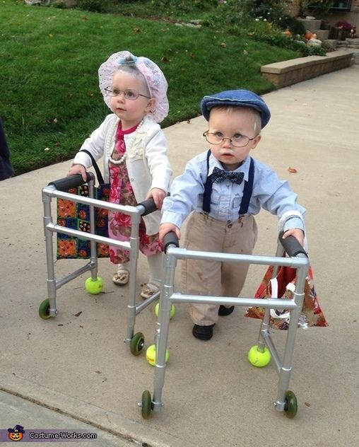 Old Couple Twin Babies Halloween Costume