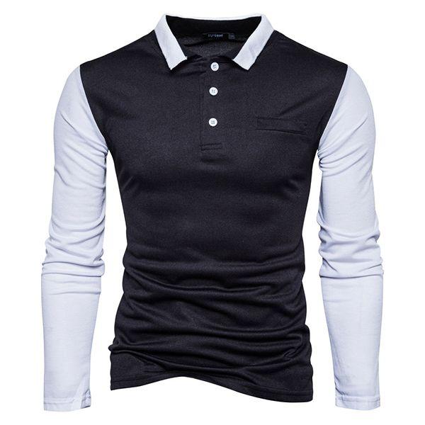 76eb4e781d3 Camiseta de solapa de color puro de otoño invierno Moda camiseta de manga  larga de hombre casual POLO Camisa