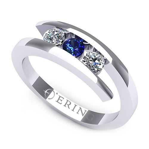 Inel logodna L109ASF inel cu diamante si safir