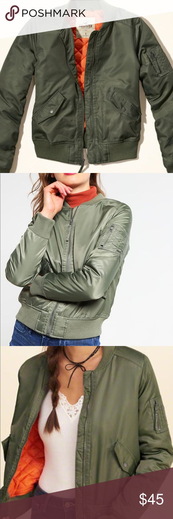 Hollister olive green bomber jacket Gently worn. Olive green nylon bomber jacket from Hollister. Orange interior. Zip front and snap pockets. No known flaws. Perfect for fall. Stock photos. Will post actual photos soon! Hollister Jackets & Coats