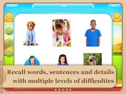 Auditory Memory Ride ($19.99) a comprehensive and fun app for students aged six to 13 with central auditory processing disorder (CAPD) or other related disorders (e.g., receptive language disorder or autism).  The Auditory Memory Ride app includes over 1000 stimuli with pre-recorded audio and the ability to introduce background noise.   Includes both recognition & recall tasks with the ability to delay the presentation of the stimuli. No delay, 5-second, 10-second, & 15-second delay.