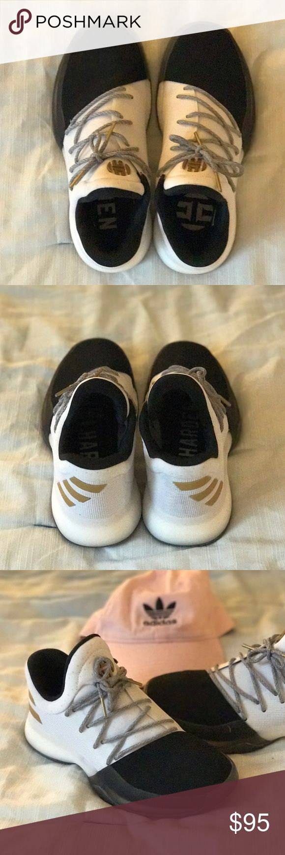 Harden Vol 1 Shoes Adidas Black and white James Harden Vol 1 Shoes. Only worn once, like new! Shoe is 5 1/2 in kids which is equivalent to a woman's US size 7 Adidas Shoes Athletic Shoes