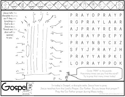 ***FREE*** Luke 11.1-13 Knock and the Door Shall Be Opened Coloring Page Catholic Kids