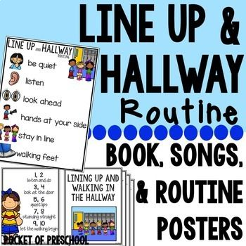 Set up a line up and hallway routine to help you teach your students all how to line up and walk in the hall. It includes a class read aloud, routine poster, line up song posters, and floor spots for students to stand when they line up. Teaching rules and produces at the beginning of the year is important!