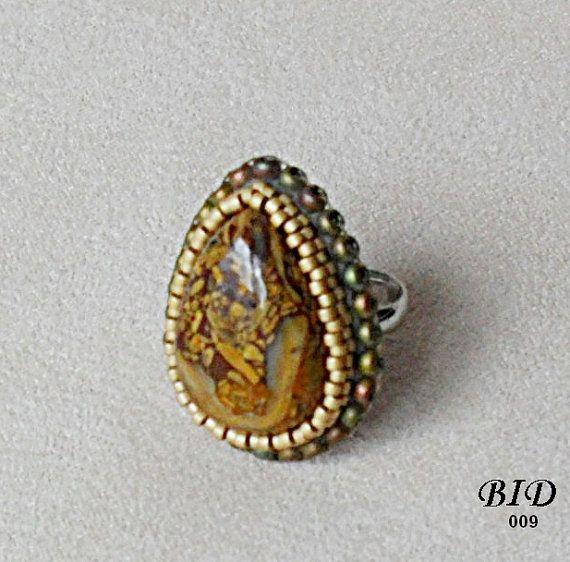 Bead Embroidery, Ring, Adjustable,  Beaded Jewerly, Handmade