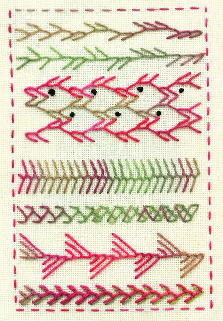 embroidery - feather stitch.  note tesselations